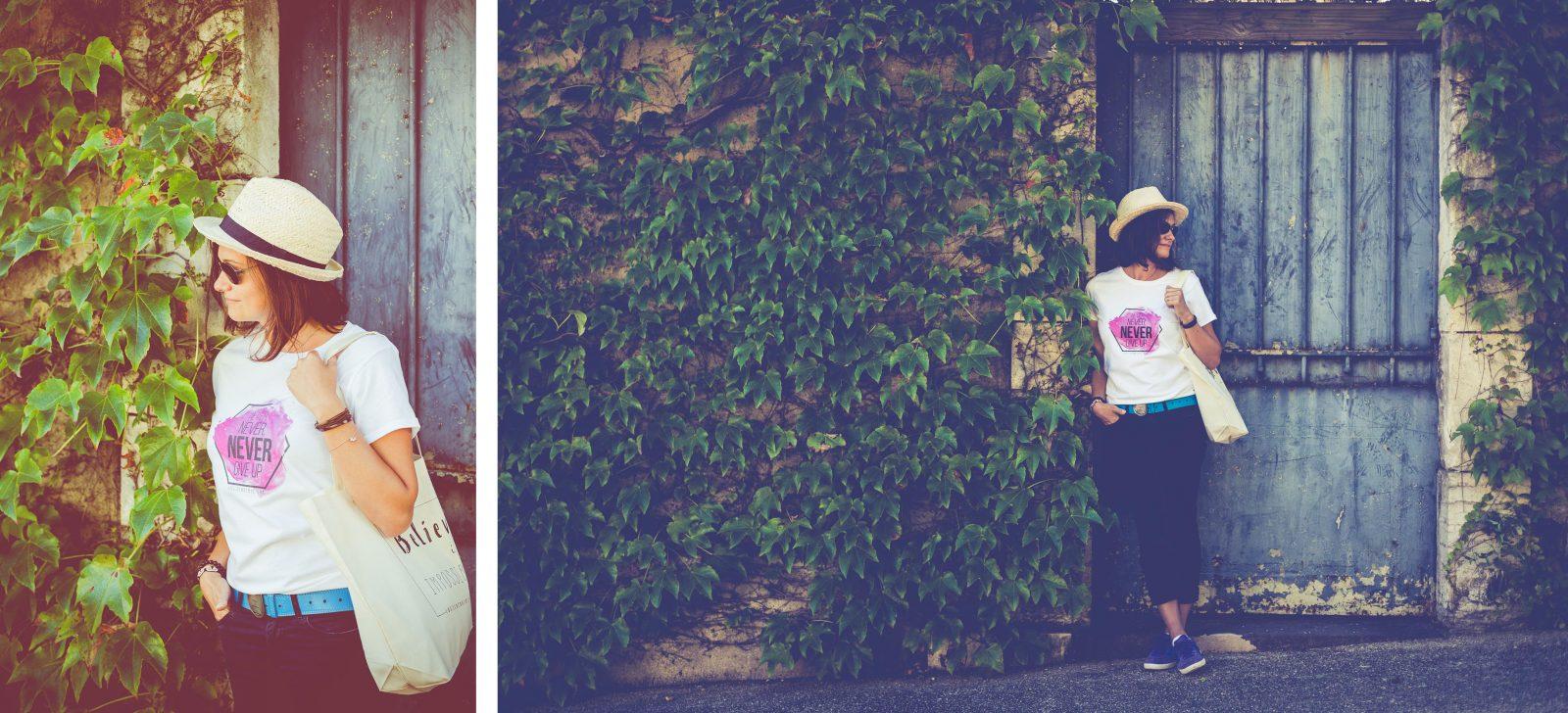 tee-shirt blanc, mixte, never give up, par L'oeil de Noémie, photographe spécialisée dans le mariage à Vichy, en Auvergne