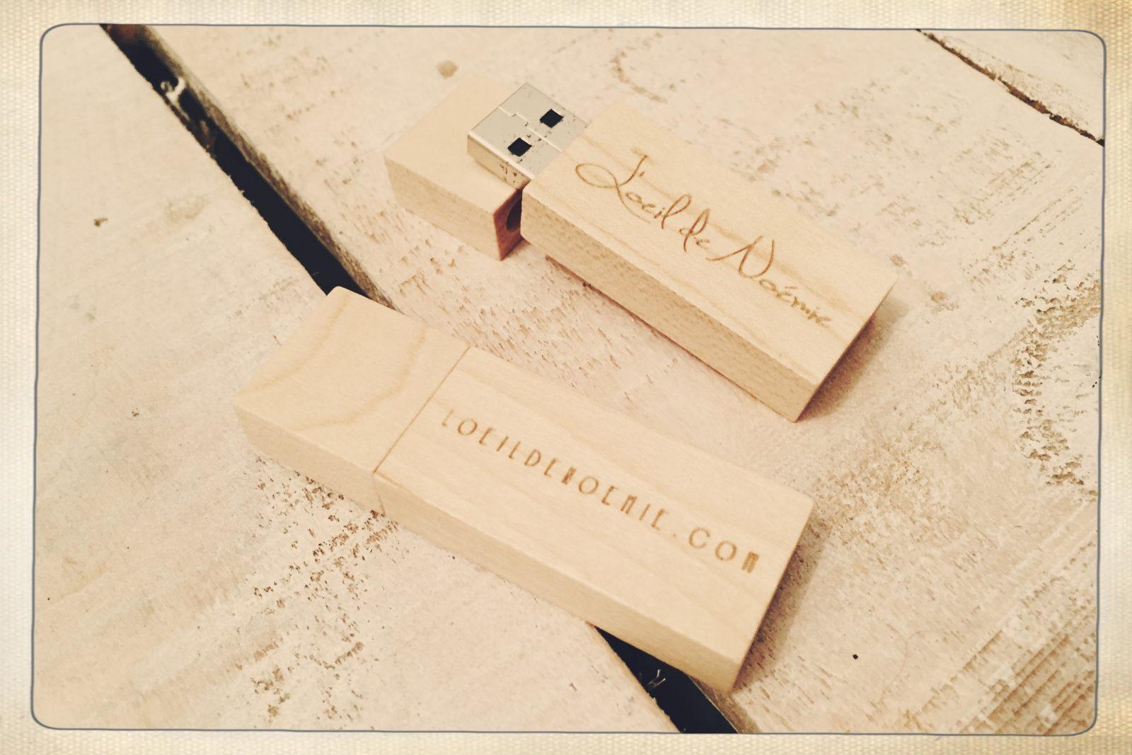 packaging photographe, clef usb bois personnalisée, packaging L'oeil de Noémie photographe de mariage à Clermont-Ferrand en Auvergne