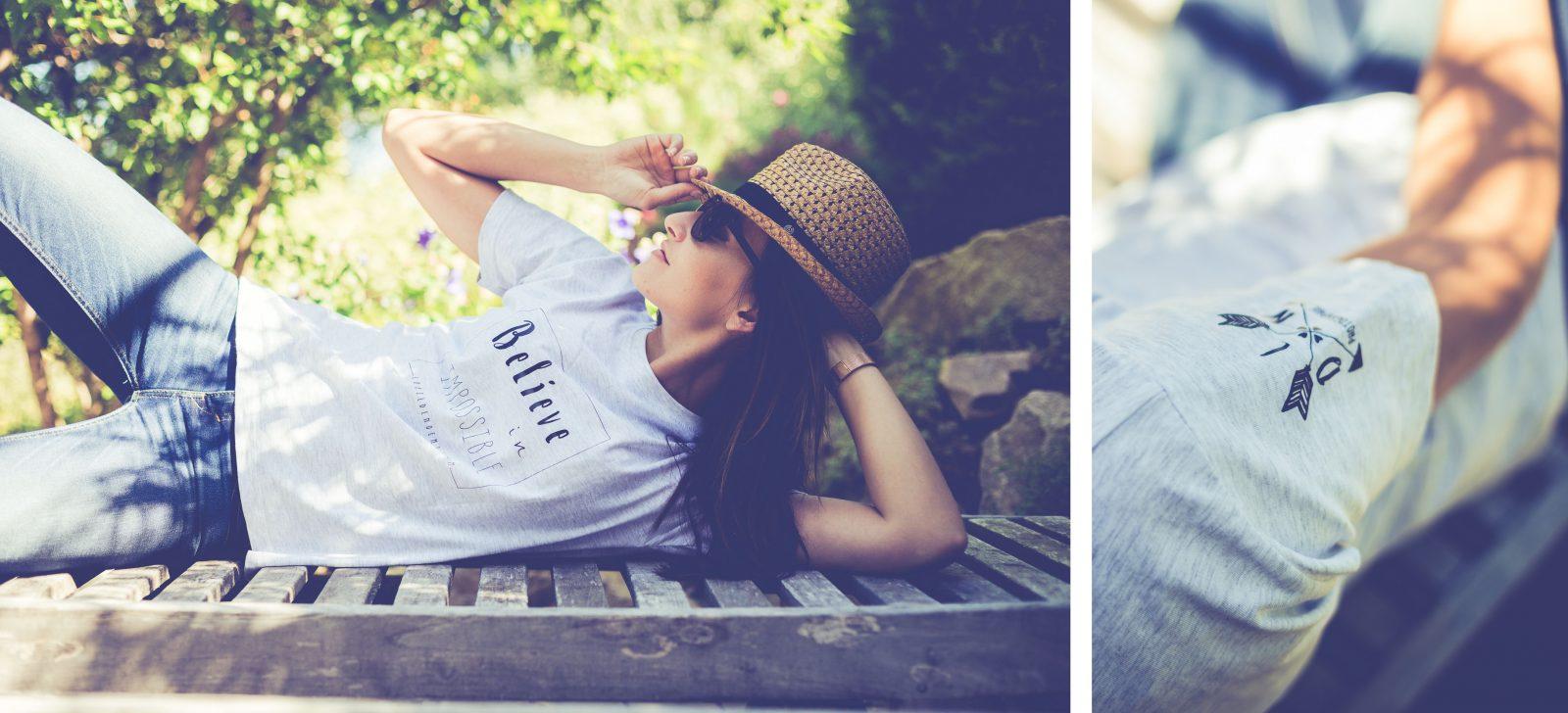 tee-shirt avec phrase, blanc chiné, estival et décontracté, par L'oeil de Noémie, photographe de mariage incontournable !