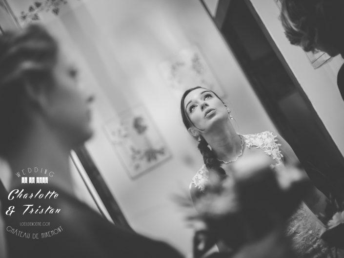 le stress de la mariée, belle photo de mariage, château de Miremont, Auvergne, L'oeil de Noémie photographe à Vichy, en Europe