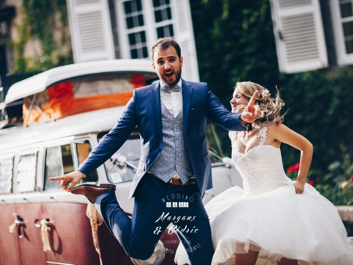 mariage chic et gourmand, photo fun de couple, Château de Saulnat, Puy de Dôme, Auvergne, L'oeil de Noémie meilleur photographe de mariage en France