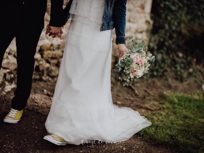 tendance mariage baskets et combi, l'oeil de noémie meilleur photographe mariage france